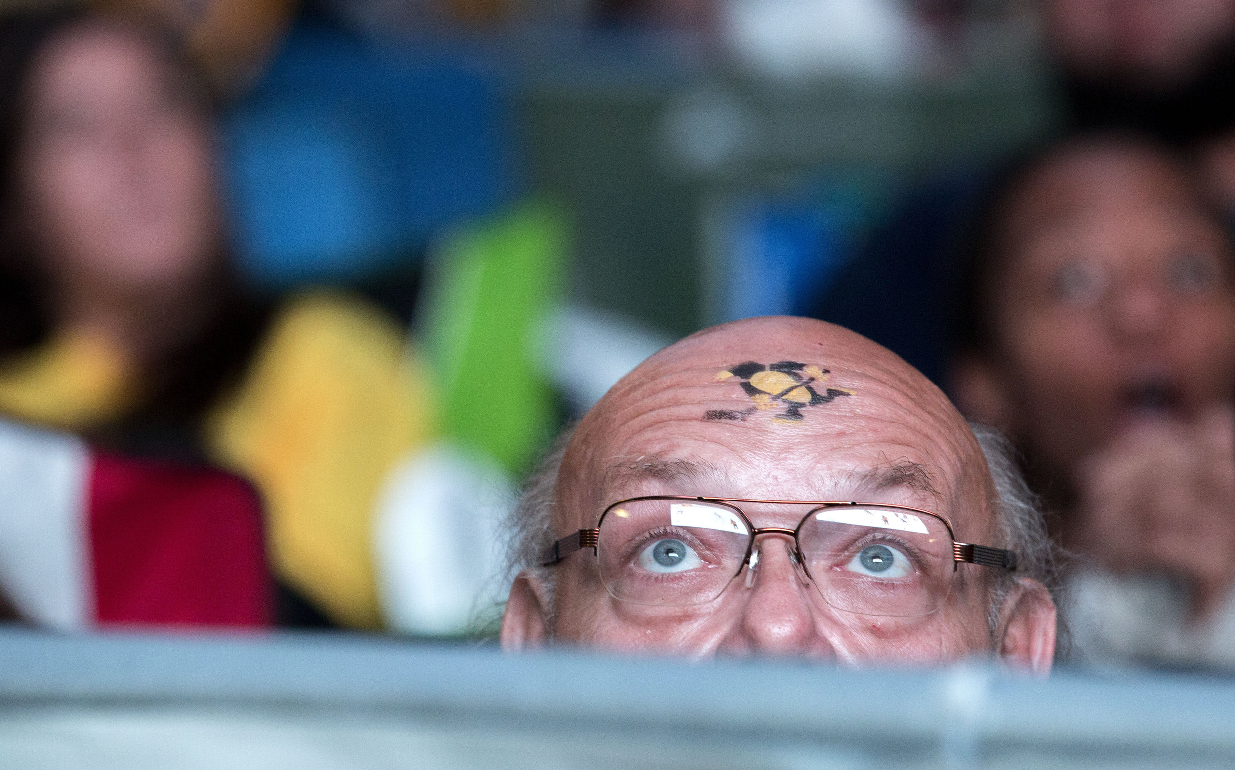 Tyrone Sub, of Sarver, looks up towards the big screen during a watch party on Thursday, June 8, 2017, during Game 5 of the Stanley Cup Finals at PPG Paints Arena in Pittsburgh.