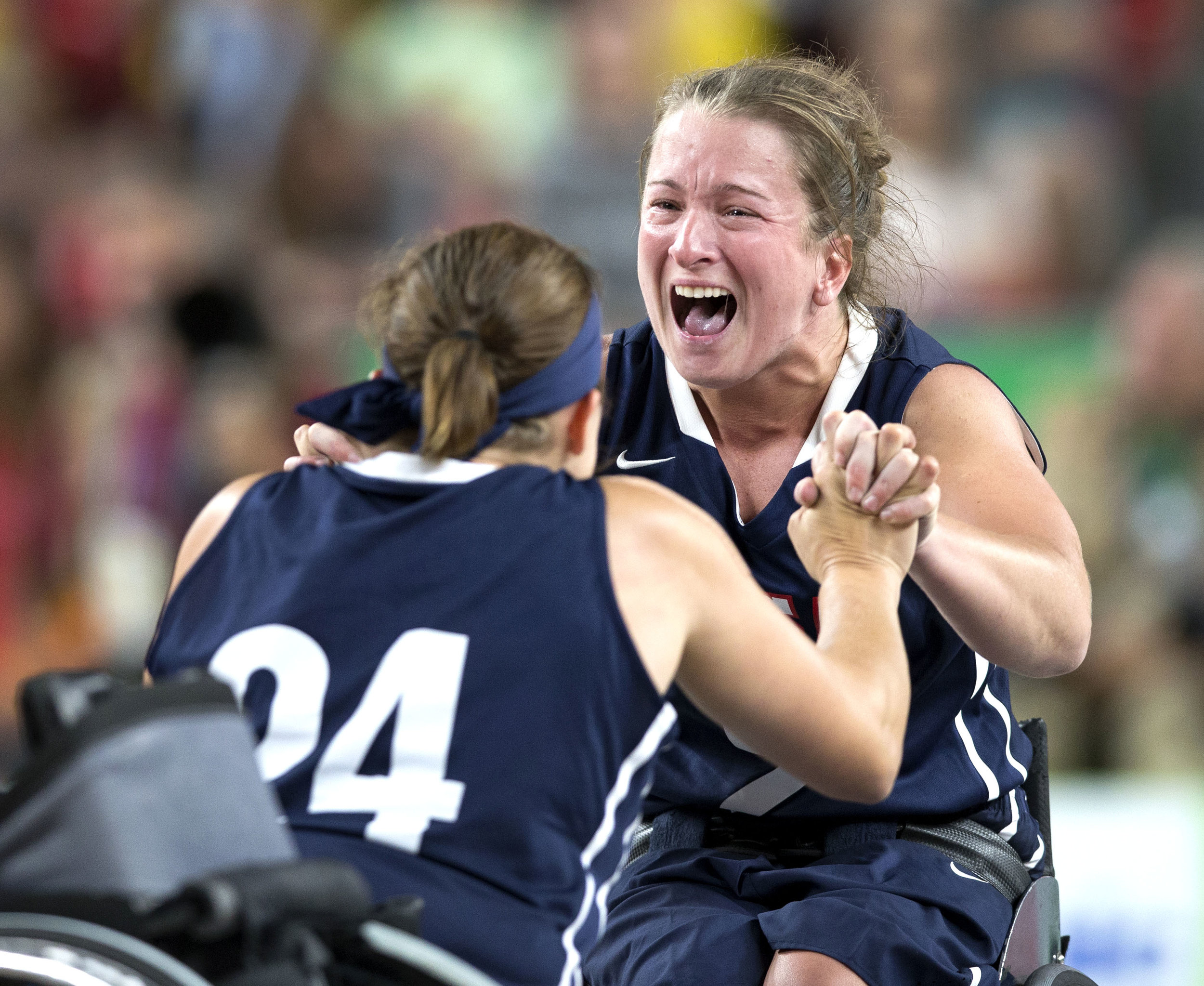 Gail Gaeng reacts after the U.S. team defeated Germany and won gold during the wheelchair basketball game at the 2016 Paralympic Games in Rio de Janeiro, Brazil, on Friday, Sept. 16, 2016.