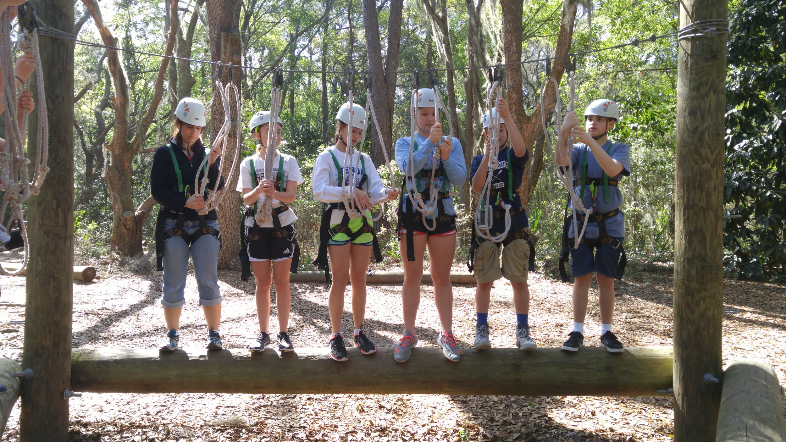 Training for High Ropes/Challenge Course at the retreat center.