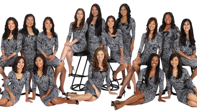 Back row (left-right) : Alyssa Fujihara, Karen Nakagawa, Chelsea Uchihara, Michaela Kamemoto, Erin Fukaya, Kristin Imose, Alysha Tanabe, Nicole Ansai, Danica Tamaye, Chelsea Okamoto.  Front row (left-right) : Cara Tsutsuse, Kaysha Izumoto, Jasmine Nagano, Nicole Burns, Sarah Kamida.   Photo by Steven Yamaki, photographer and owner of Images by Steven, a Silver Sponsor. Attire provided by Tori Richard, a Gold Sponsor.