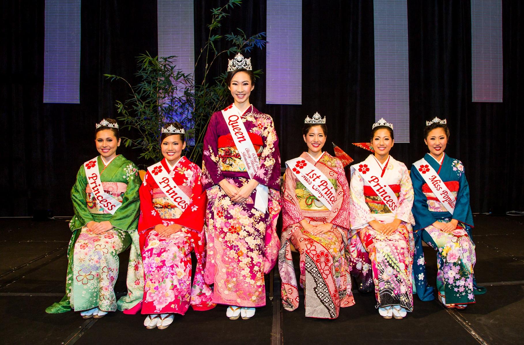 Left to right: Princess Jessica Kaneshiro, Princess Kyla Teramoto, Queen Kimberly Takata, First Princess and Miss Congeniality Rosalei Chinen, Princess Celina Quach, and Miss Popularity Heather Miura.