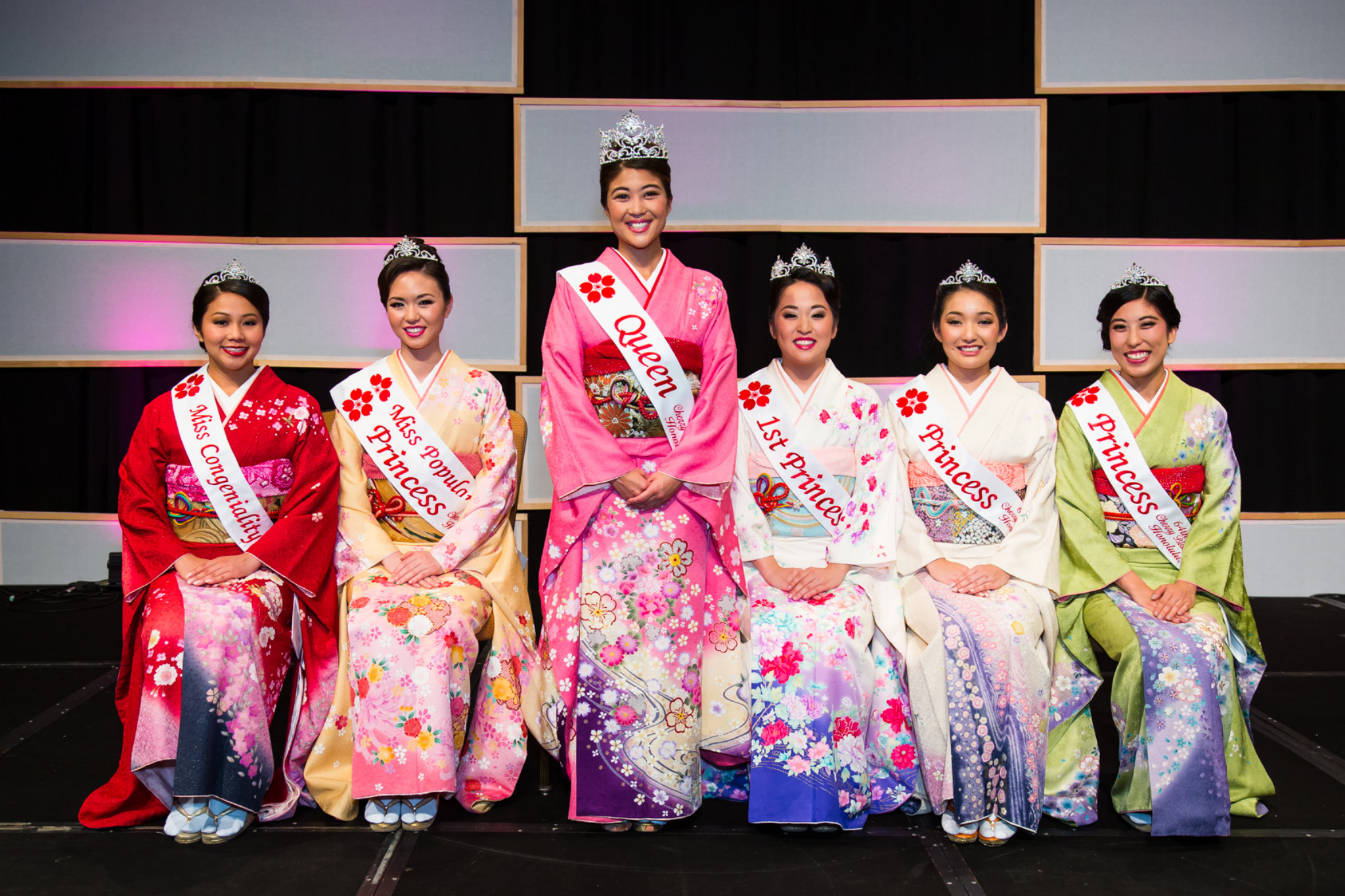 Left to right: Miss Congeniality Dylan Lau, Princess and Miss Popularity Asia Ayabe, Queen Alexis Okihara, 1st Princess Brittney Kawahara, Princess Ritsuko Tomari and Princess Kristi Murakami.