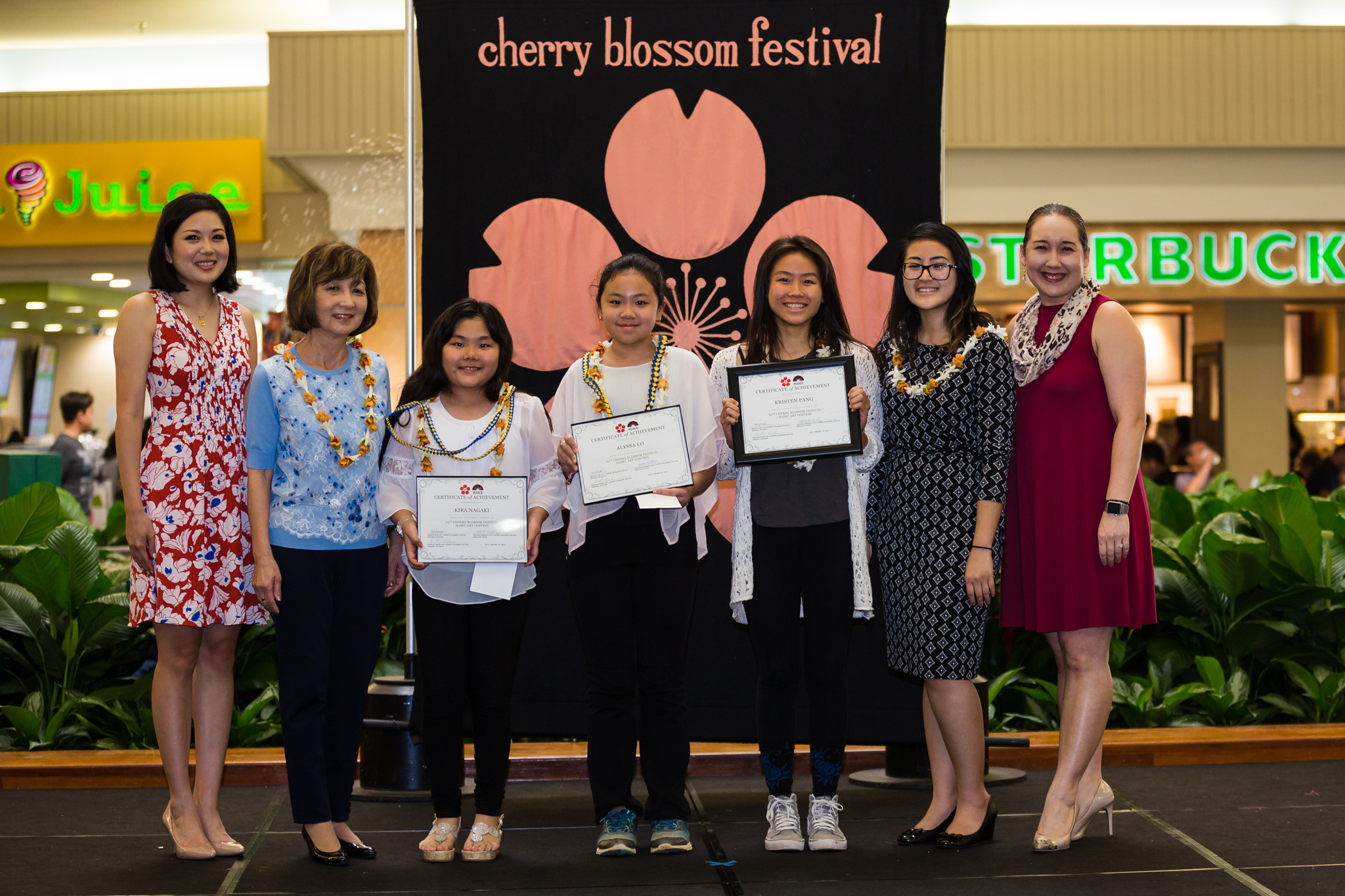 Kristine Wada, 65th CBF general co-chair; Cathy Iwai, president-elect, Japanese Women's Society Foundation; contest winners Kira Nagaki, Alyssa P. Lo, and Kristen Pang; Chelsea Okamoto, 65th CBF Haiku Art Contest chair; and Kristin Alm,  65th CBF general co-chair