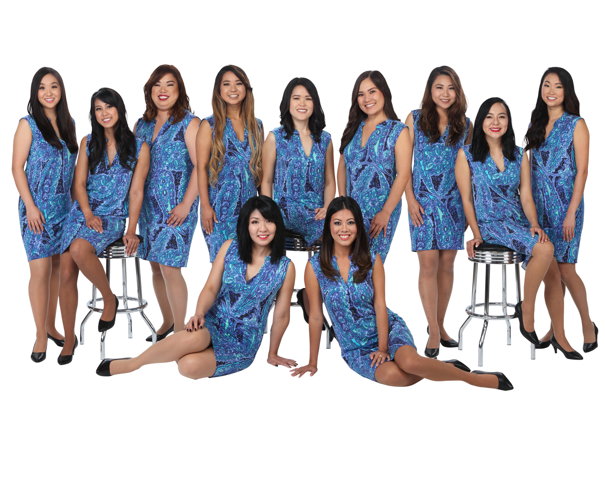 Back from Left to Right: Ariel Lee, Jacqueline Arelliano, Jaimee Sambrano, Reeann Minatoya, Lauren Sugai, Kalei Kagawa, Michelle Chen, Kallista Hiraoka, Kayla Ueshiro  Front from Left to Right: Katrina Shimomura, Taylor Chee  The 67th Cherry Blossom Festival Contestants are featured wearing an original design by Gold Sponsor, Tori Richard.  Photo courtesy of Silver Sponsor, Steven Yamaki, photographer and owner of Images by Steven.