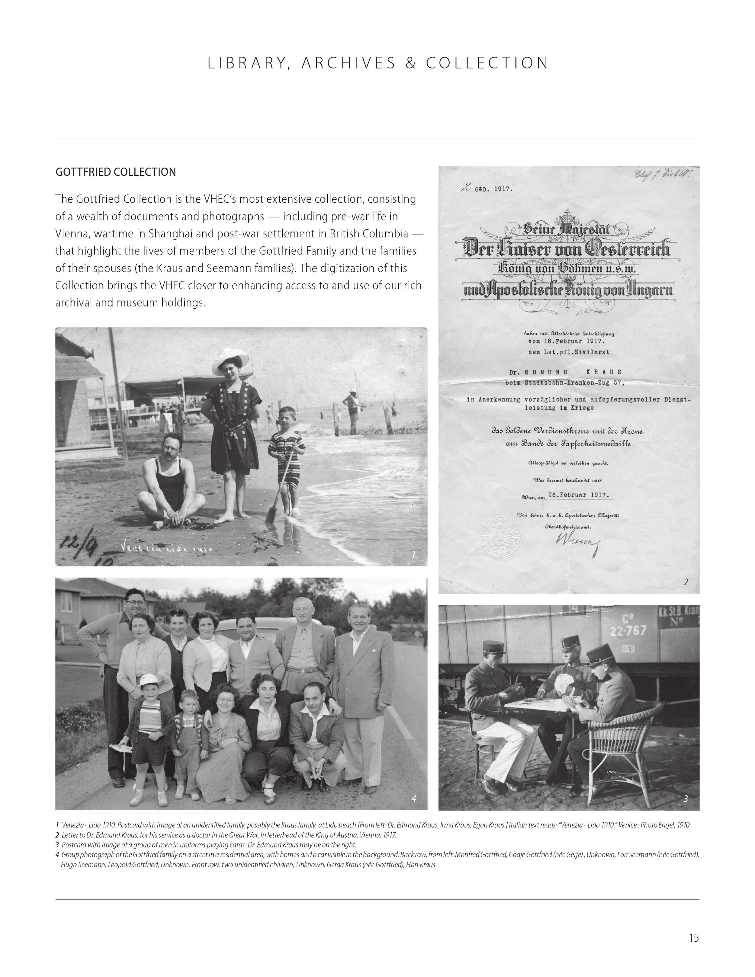 """Vancouver Holocaust Education Center, """"Gottfried Collection,"""" VHEC Annual Report 2014, page 15. Content by the VHEC Collections team. Design by Illene Yu. Courtesy of the VHEC."""