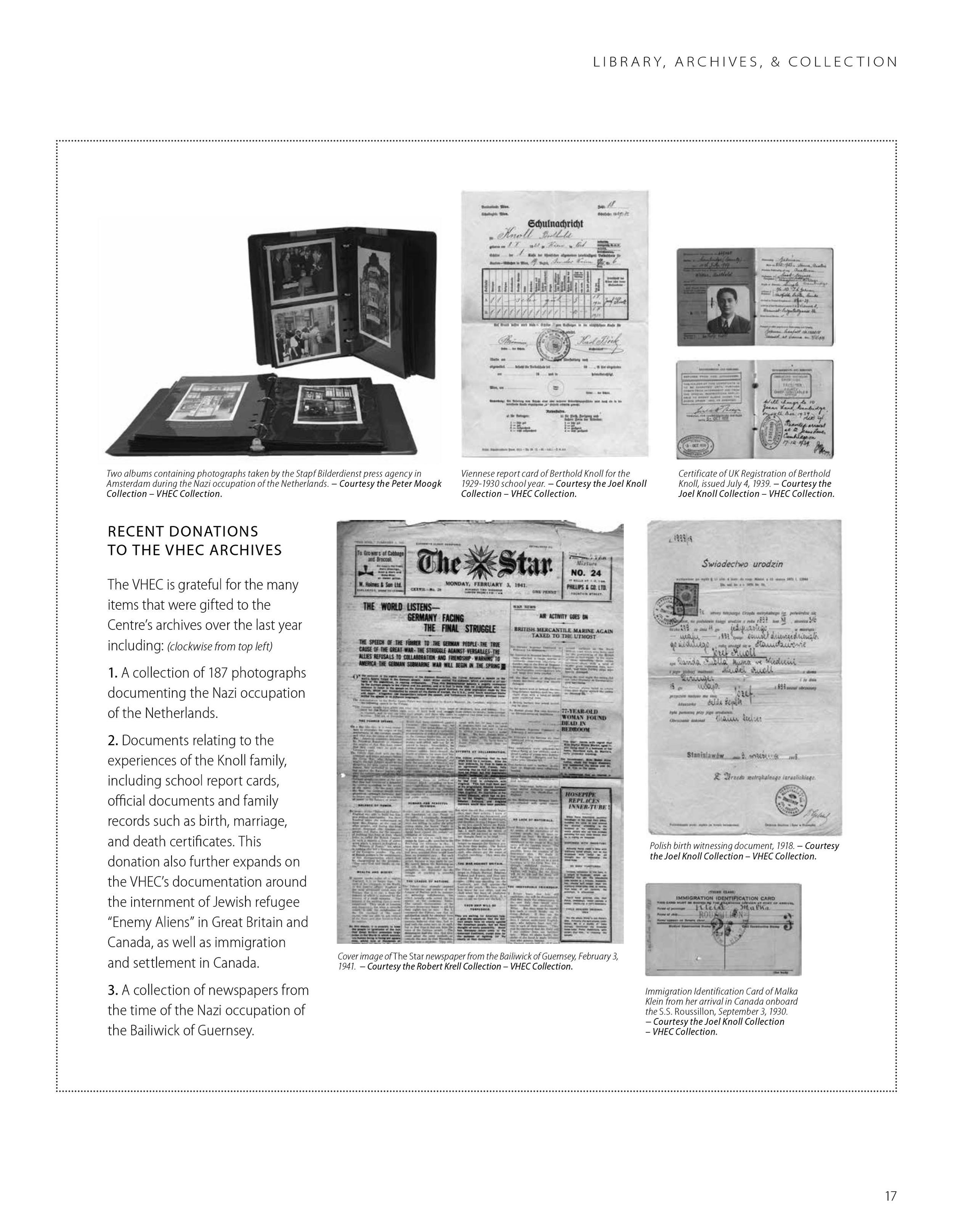 """Vancouver Holocaust Education Center, """"Recent Donations to the VHEC Archives,"""" VHEC Annual Report 2015, page 17. Content by the VHEC Collections team. Photograph at top left by Katie Powell. Design by Illene Yu. Courtesy of the VHEC."""