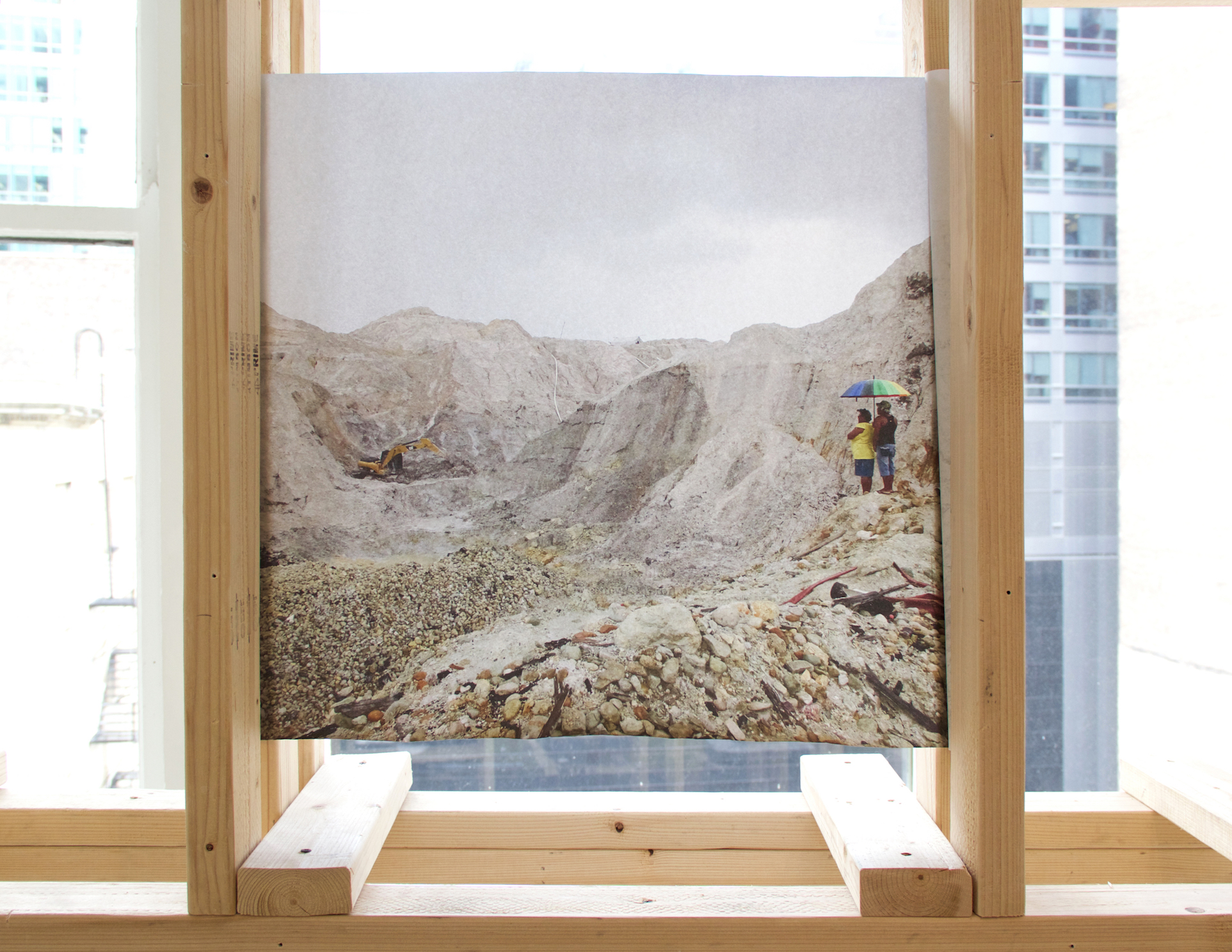 Detail features a photograph (printed on sugarcane paper) I took from the inside of an open-pit gold mine in Mahdia, Guyana.