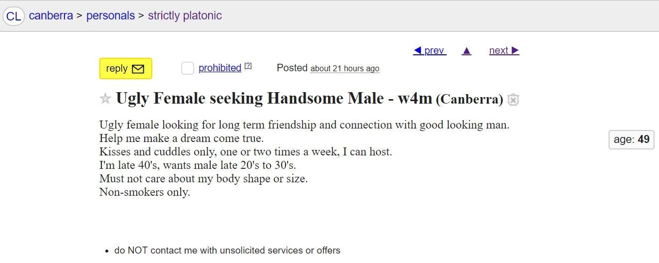 Craigslist ad - Ugly female seeking handsome male 17 Mar 2018 - cropped.jpg