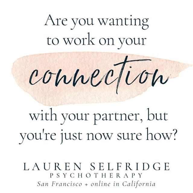 Find support with using transformative communication strategies in your relationship.⠀ ⠀ Inspired psychotherapy in San Francisco + online anywhere in California.⠀ ⠀ #onlinetherapy #california #therapy #psychotherapy #laurenselfridgetherapy #mindfulness #selfcare #selfcompassion #positivity #chronicillness #relationships #selflove #HSP #sanfrancisco #videotherapy #SF #bayarea #therapist #counselor #counseling #psychotherapist #couplestherapy #autoimmune #multiplesclerosis #diabetes #affirmations #migraine #endometriosis #POTS #PCOS