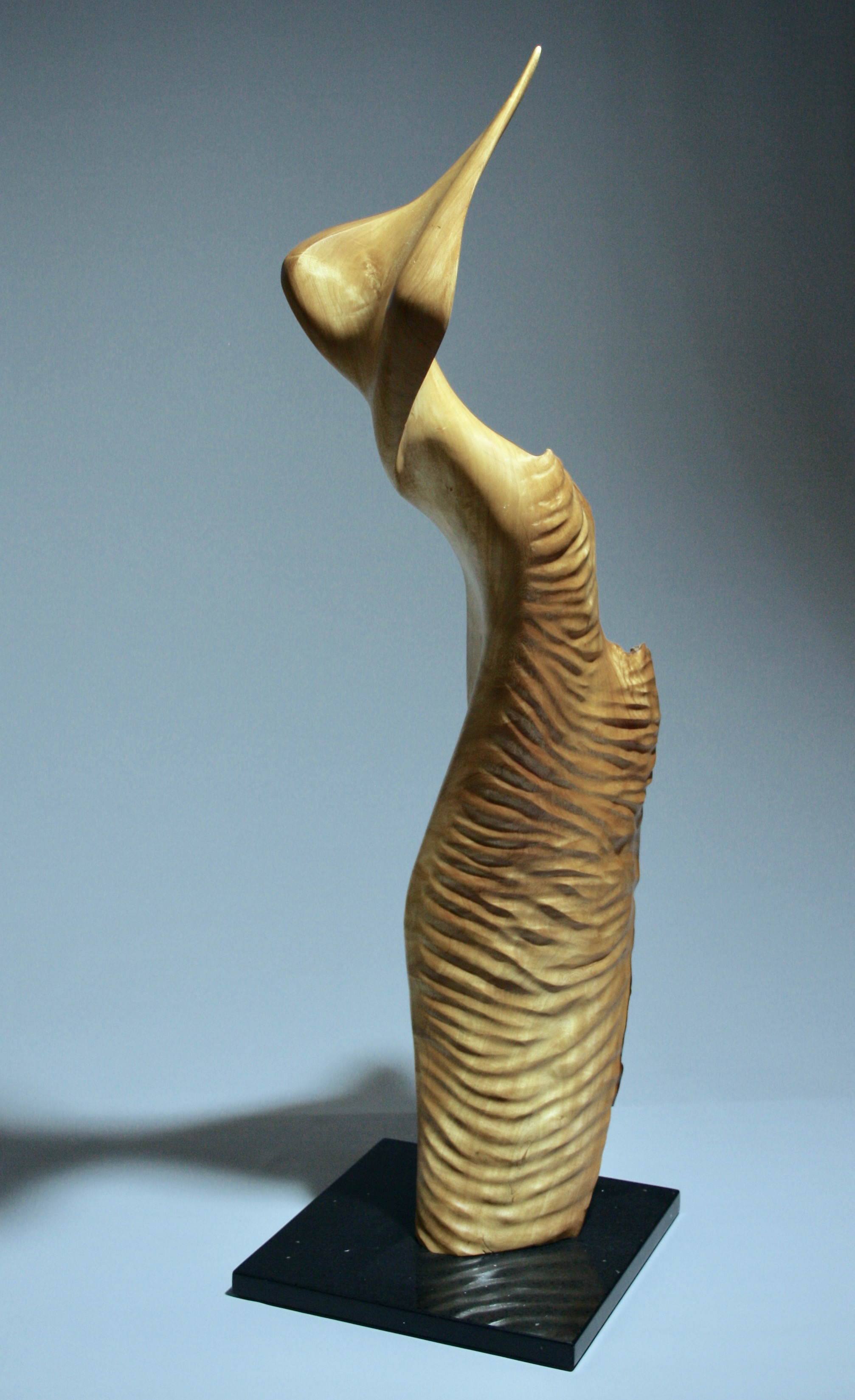 'Dancing Sea Nymph' - Sold    Wood:  Jacaranda   Artist Statement:  When seeing the twisted form of this jacaranda branch I saw the shape of a 'woman' dancing, waiting to be released from the branch.  2017 First prize sculpture- Queensland Royal National show