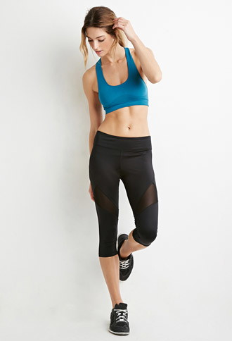 Contrast Mesh Athletic Capri Leggings