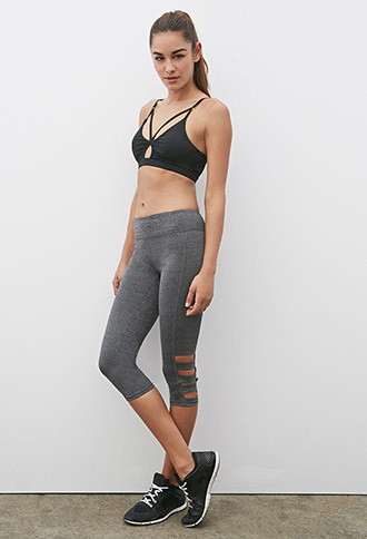 Heathered Side-Cutout Capri Leggings