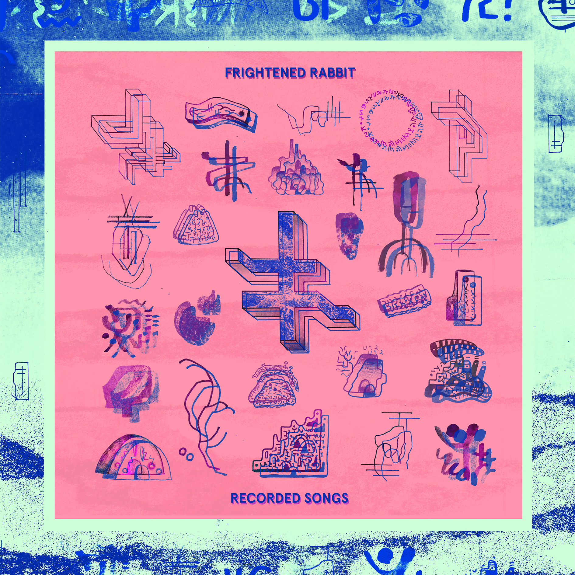 """12"""" vinyl cover art for Frightened Rabbit - Recorded Songs EP on Atlantic Records. Collaboration with Al White."""