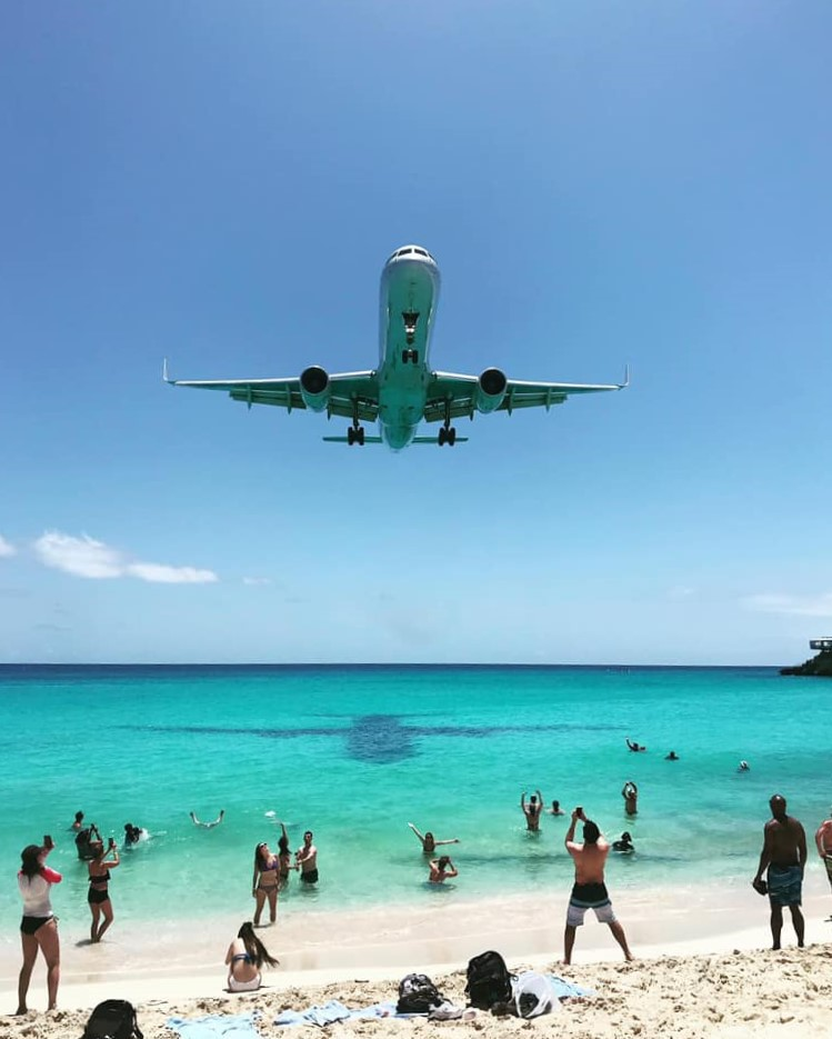 Plane landing at Maho Beach, Saint Martin