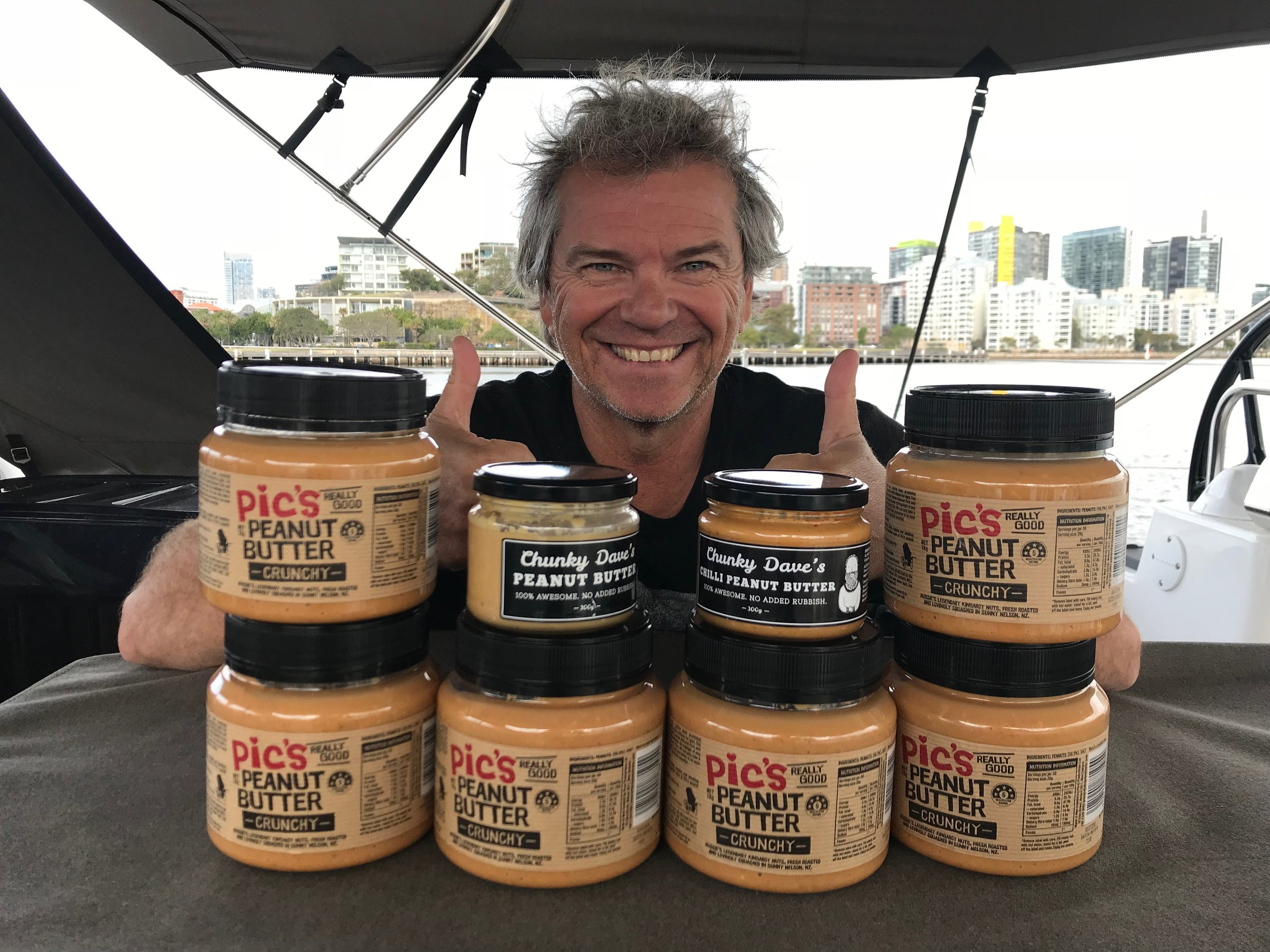Matt and SOME of his peanut butter supplies!
