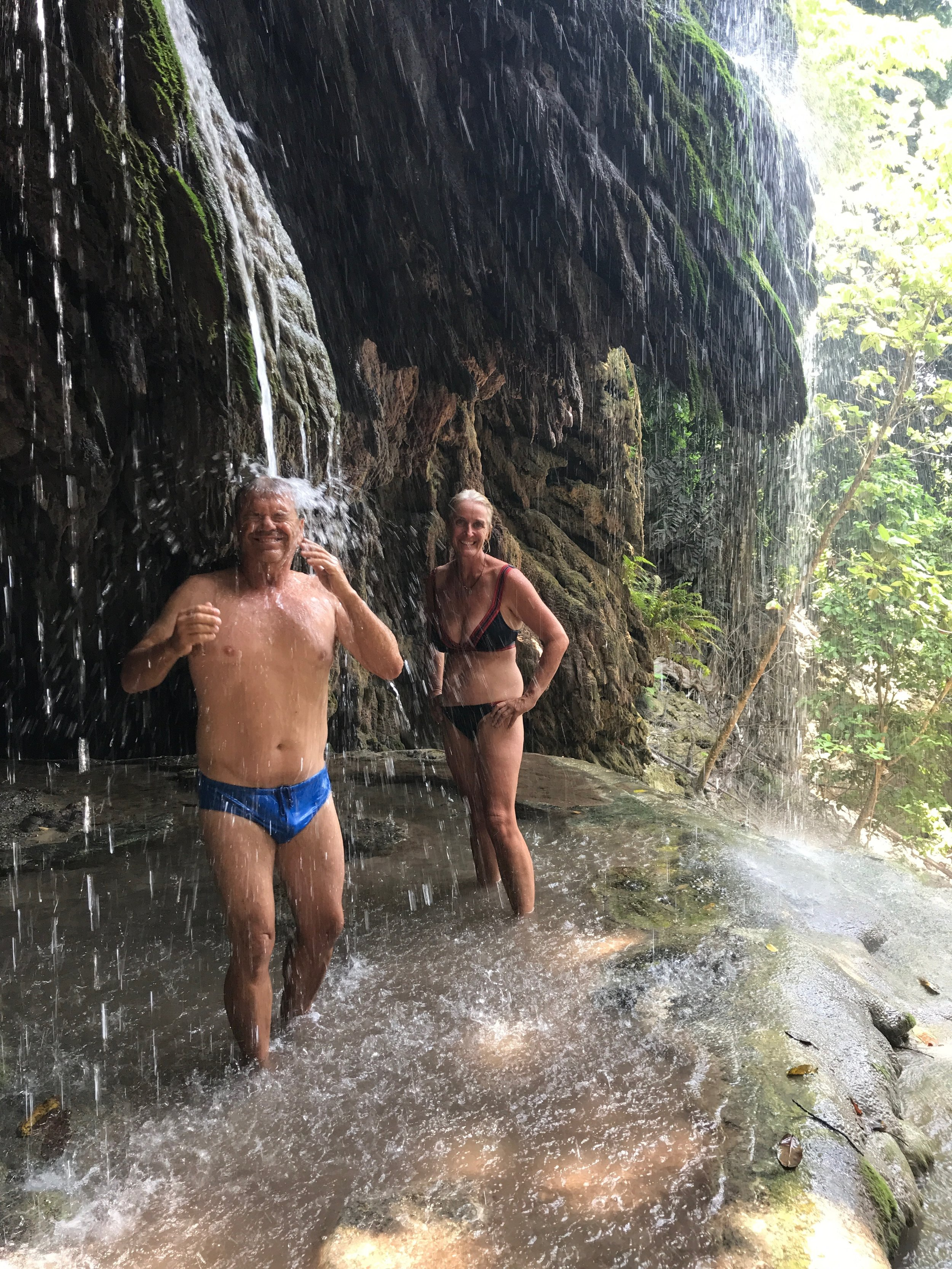 Matt and Nicky cooling off in the Hughs Dale Waterfall