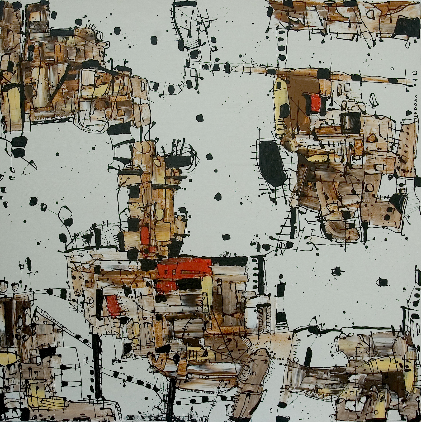 Hanging bridges & Housing colonies  Beyond Barcelona Series, 2007 Acrylic on canvas, 150 x 150 cm
