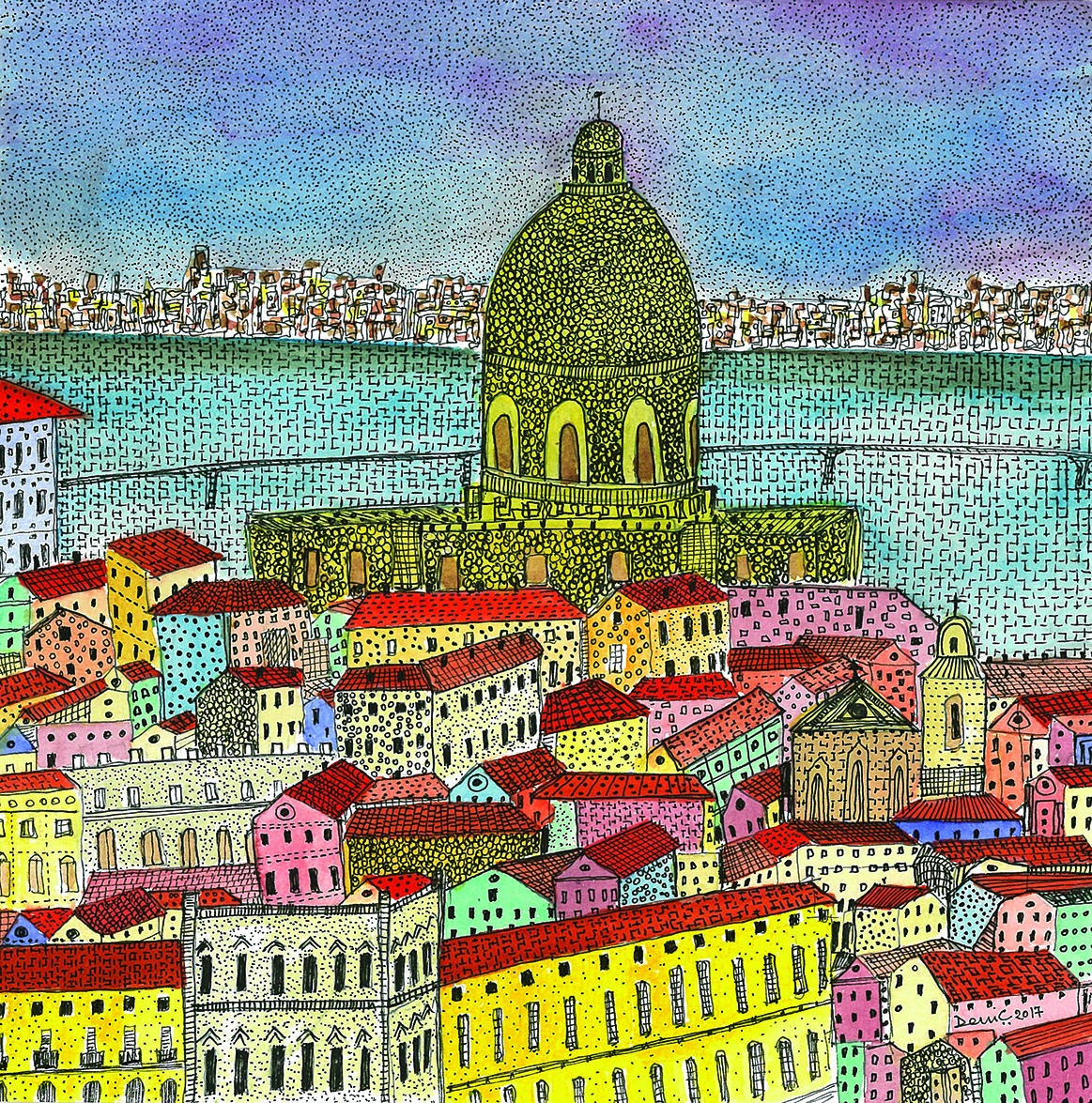 Lisbon - 1 , My Journey to Portugal Series, 2017 Water colour and archival ink pen on paper 20 cm x 20 cm