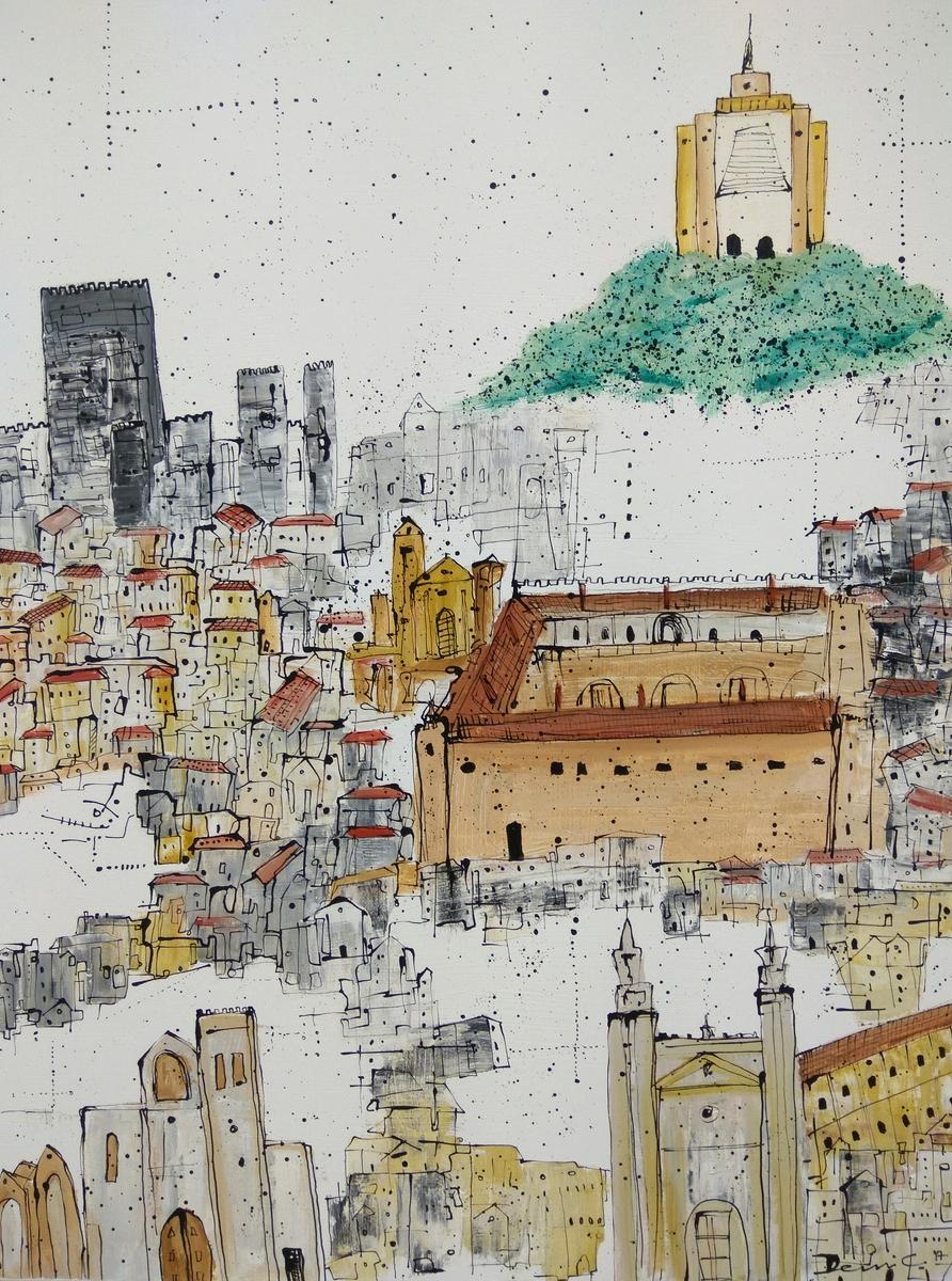 Grandeur of Guimraes , My Journey to Portugal, 2017 Acrylic on canvas, 120 cm x 90 cm