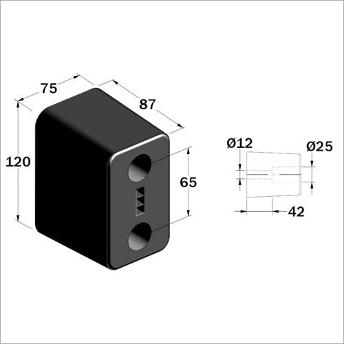 204800 - Gummipuffer 120x75x90 mm