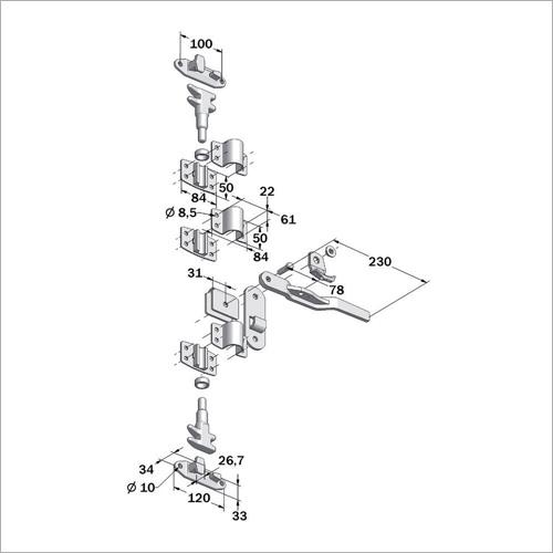 32500 - Drehstangenverschluß kompl. 15 x 21