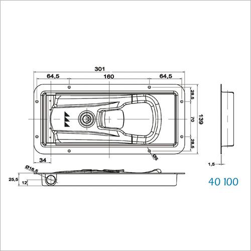 40010 - NEW INOXDrehstangenverschluss 16mm