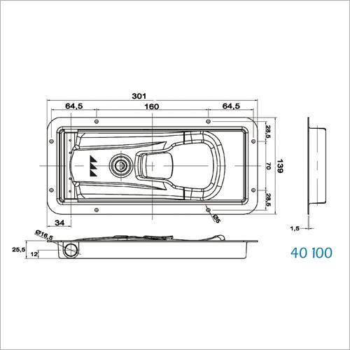 40100 - NEW INOXDrehstangenverschluss 16mm