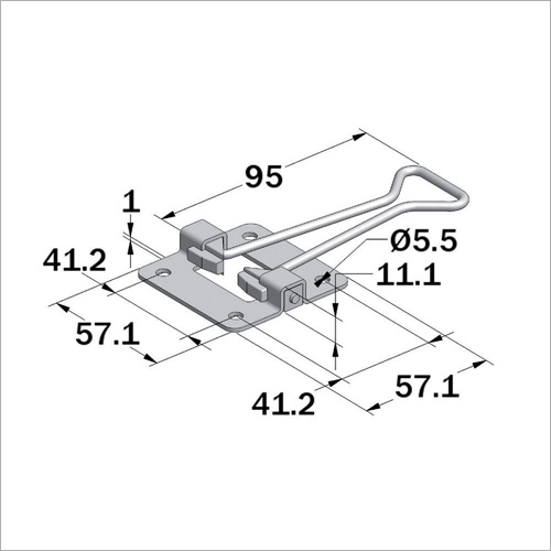 66661 - Türfeststeller (Hakentei) Länge 95 mm, niro