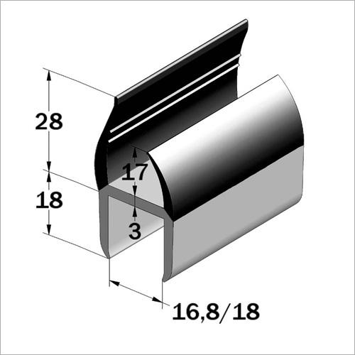 67477 - PVC Türeinfassung grau/schwarz 16,8-18 m