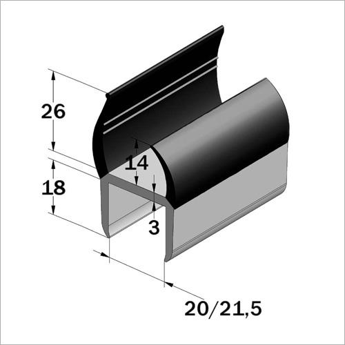 67500 - PVC Türeinfassung grau/schwarz 20x18 mm
