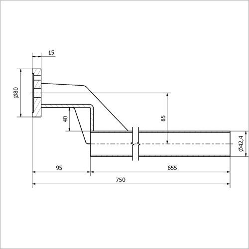 765036 - Halterohr für Kotflügel gekröpft, Länge 750 mm