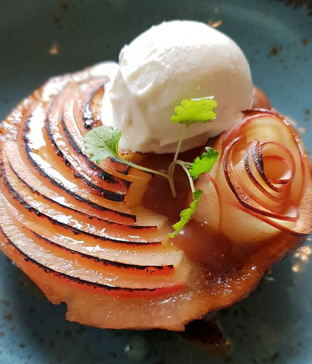Apple and Caramel Tart - new on the menu! 🥧🍏