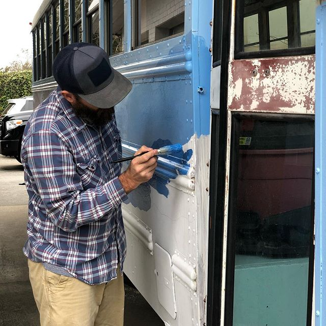 Every Inch of this bus, inside and out, painted by hand... and I REALLY don't like to paint.  But she turns heads 🕺🏻