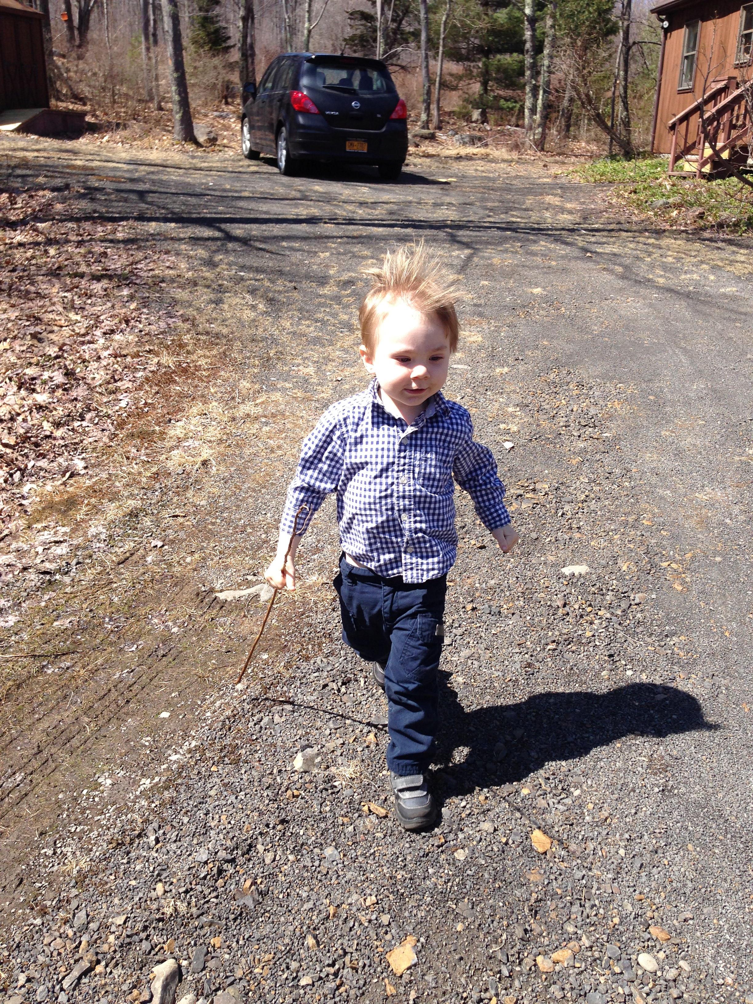 Finn running at new house.