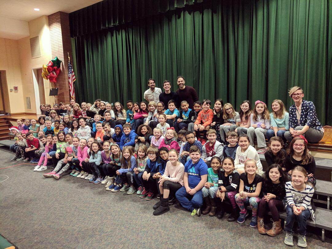 "A highlight of the recording process. Tim made a stop at his elementary school, Woodward Parkway, and recording the junior chorus for the song ""We Are Growing."""
