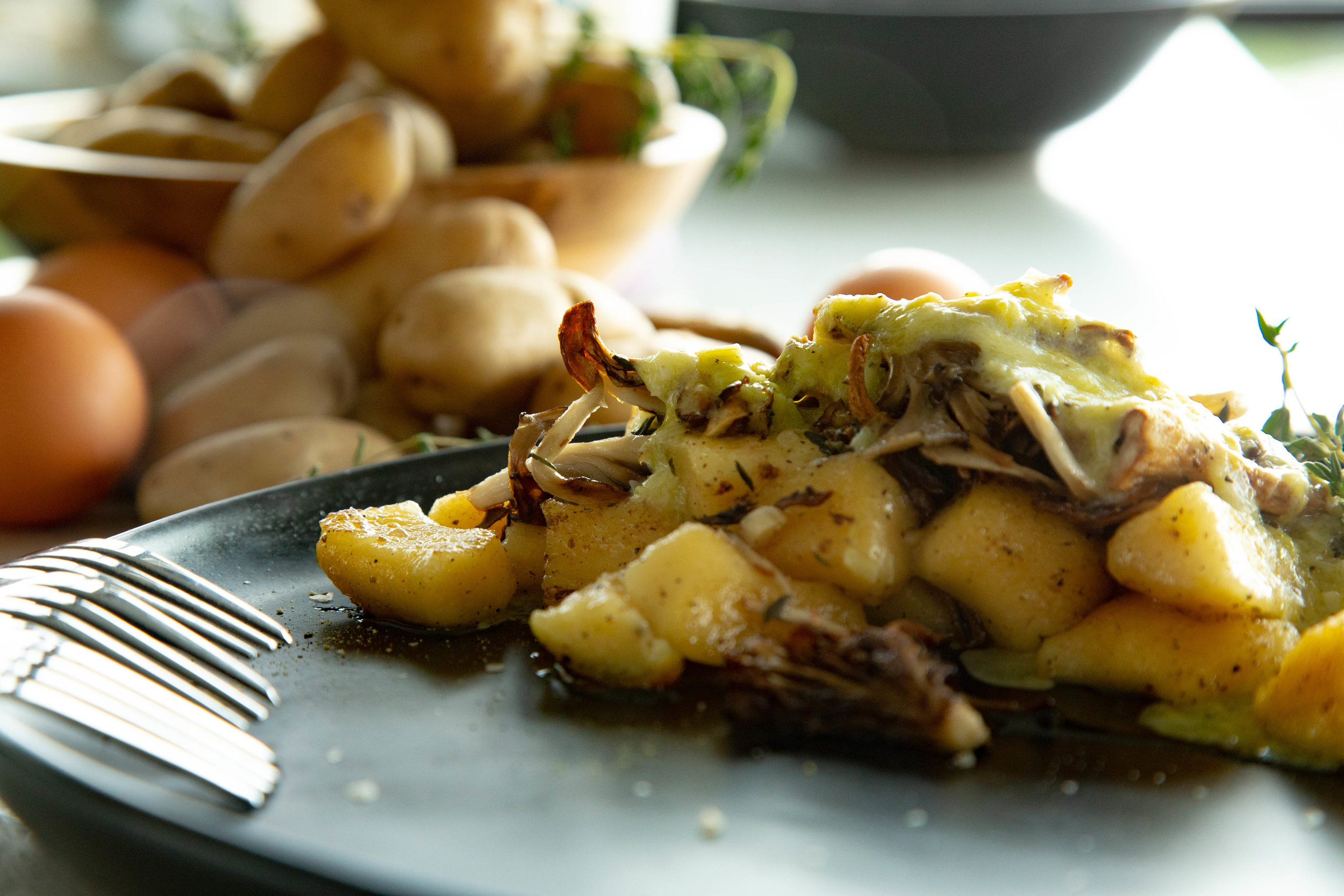 mushroom potato gnocchi with creamy leek sauce and crispy shallots