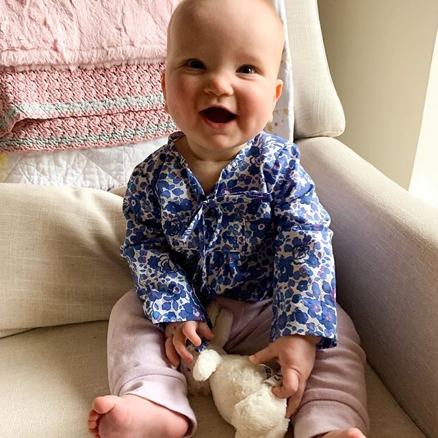 psa: when someone gives you baby clothes the best thank you is a picture of your baby in said clothes. #yourdailyviolet rocking her @oliverands #twoplustwotop in @libertylondon | #kidsewing #handmadegifts #babysewing