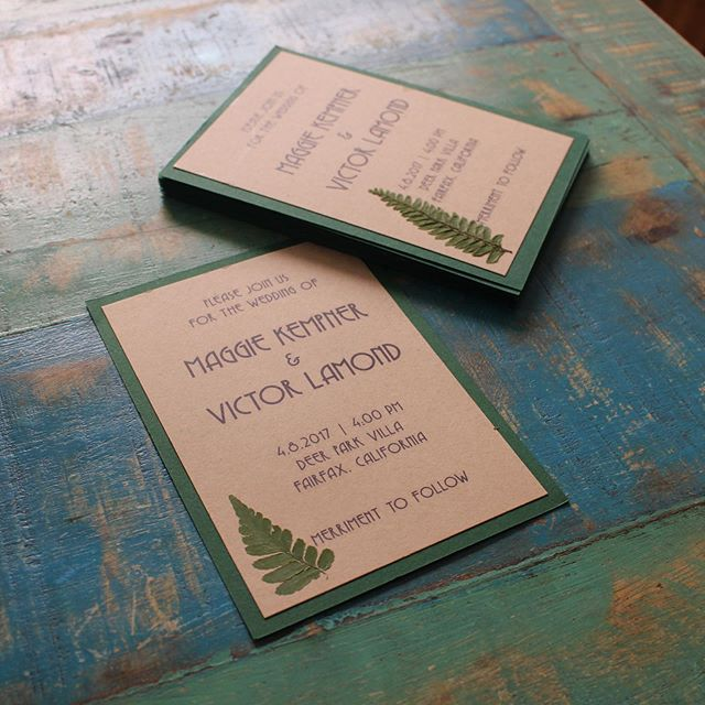 "whenever someone gets engaged i give the same advice ""be the bride you want to be"". i was the bride that wanted to do ALL THE CRAFTS. one of my favorite wedding diy activities was the invitations, which included hundreds of pressed ferns on just about every element of our invites. #theredwoodweddingofmaggieandvictor"
