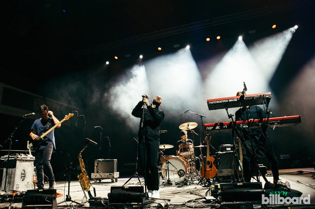 X Ambassadors take in the crowd at the Shrine Expo Hall on Aug. 4, 2015.