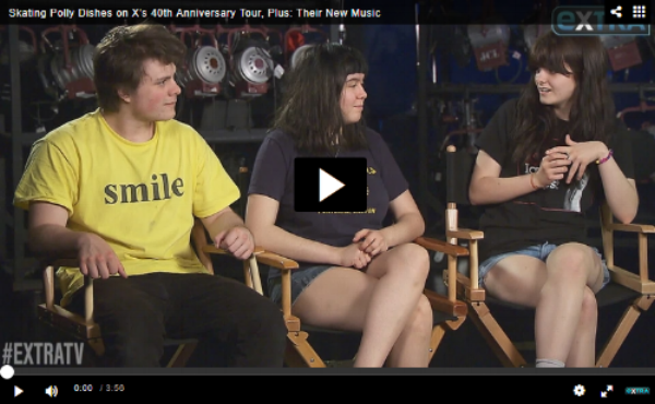 """Rising punk band Skating Polly is joining punk legends X on tour!  Along with hitting the road with their friends for a 40th anniversary tour, melodic punk band Skating Polly have a new EP, titled """"New Trick.""""  Skating Polly recently sat down with """"Extra's"""" Senior Music Correspondent Adam Weissler to discuss their friendship with X, new music and more. Watch!   Click HERE to watch the full interview and Skating Polly's performance of """"Hail Mary""""!"""