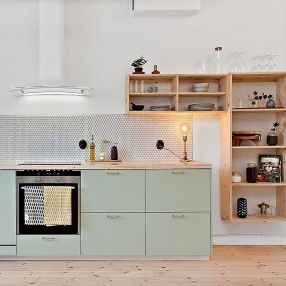Mint Green and wood kitchen