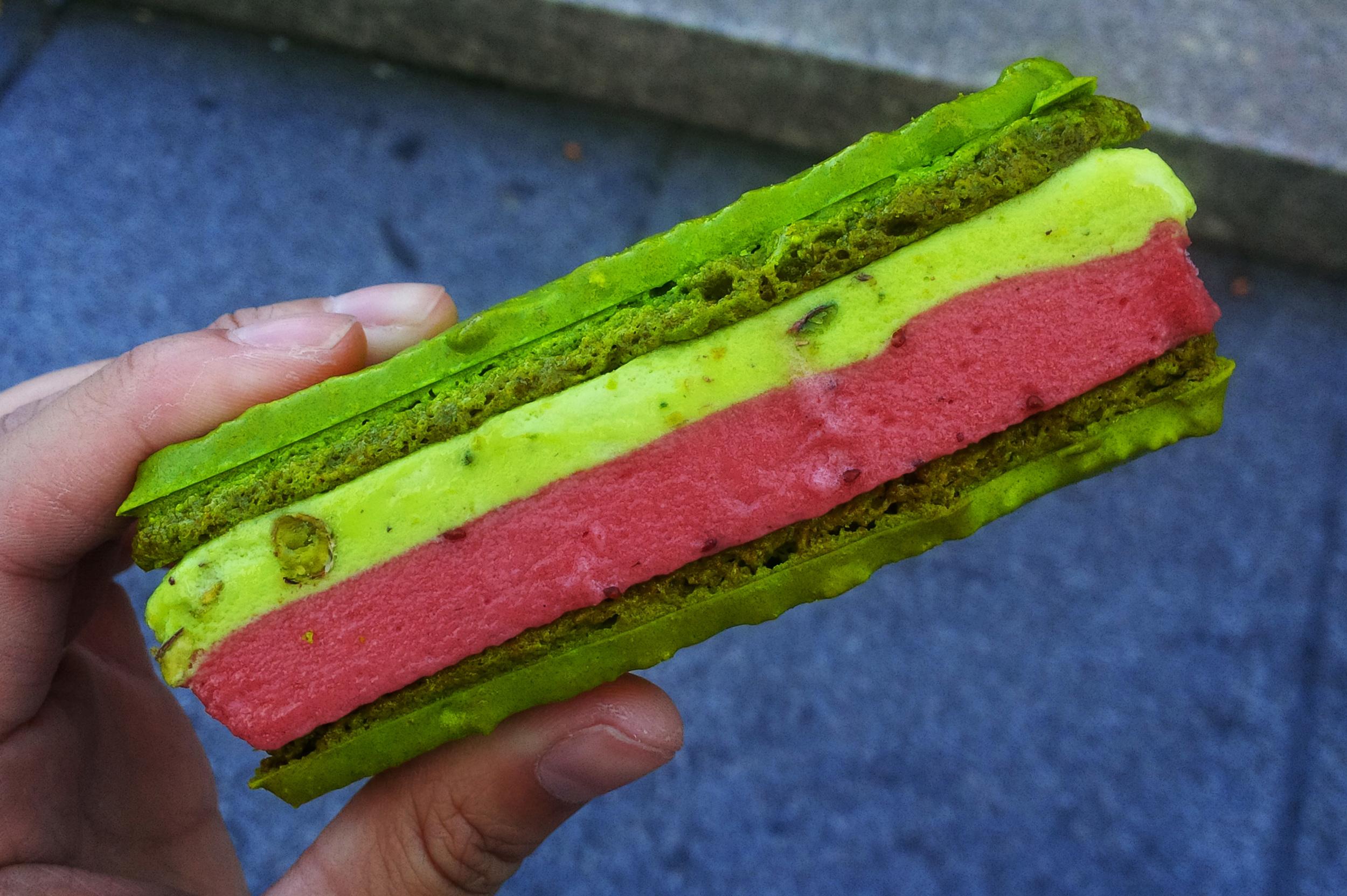 "Pistachio-raspberry macaron ice cream sandwich from Francois Payard Bakery, which I found by literally Googling ""best ice cream sandwiches in New York City"""