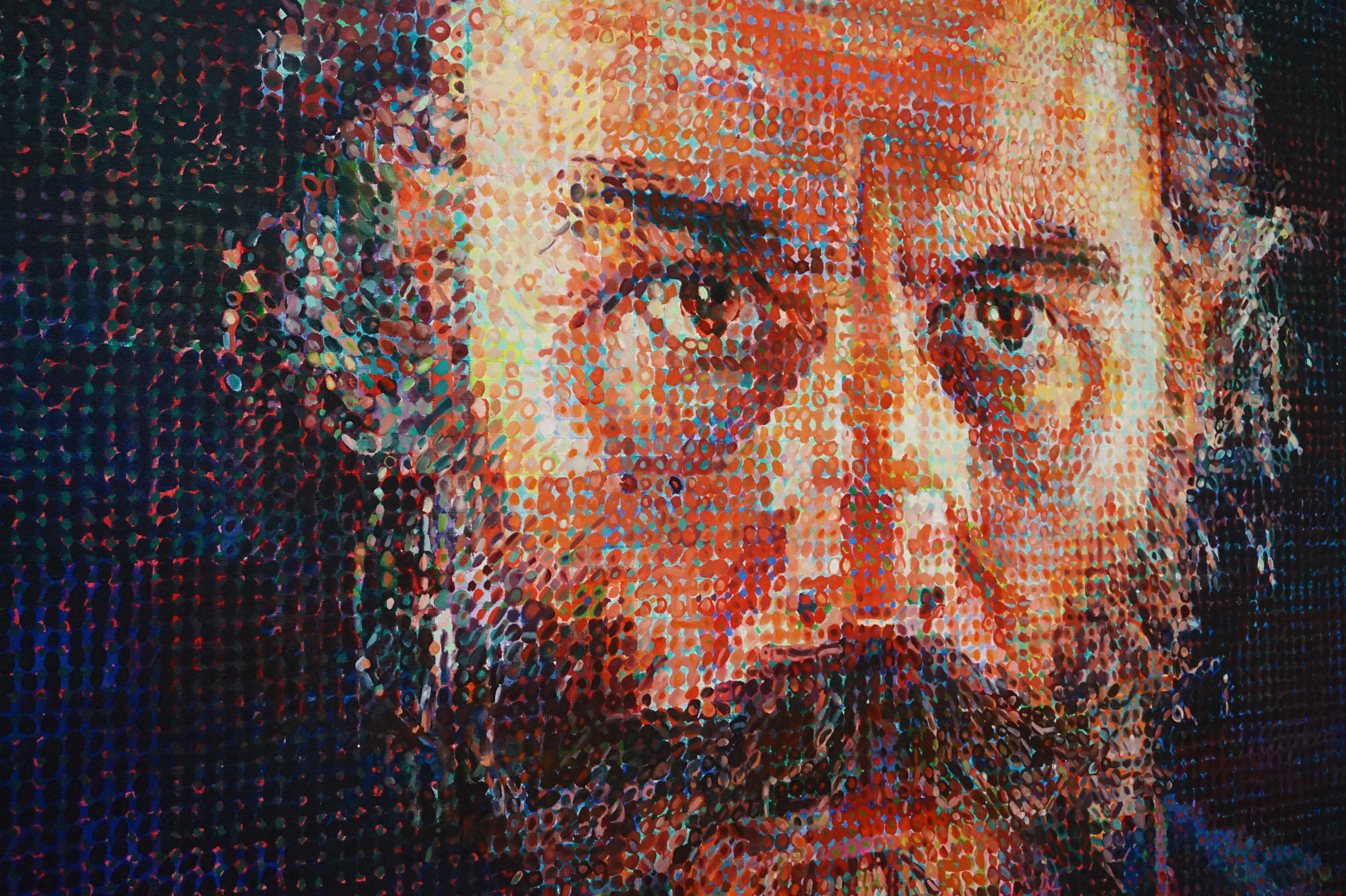 """""""Self-Portrait"""" by Chuck Close...I remember my fourth-grade teacher making us draw replicas of it, so it was cool to see it in person"""