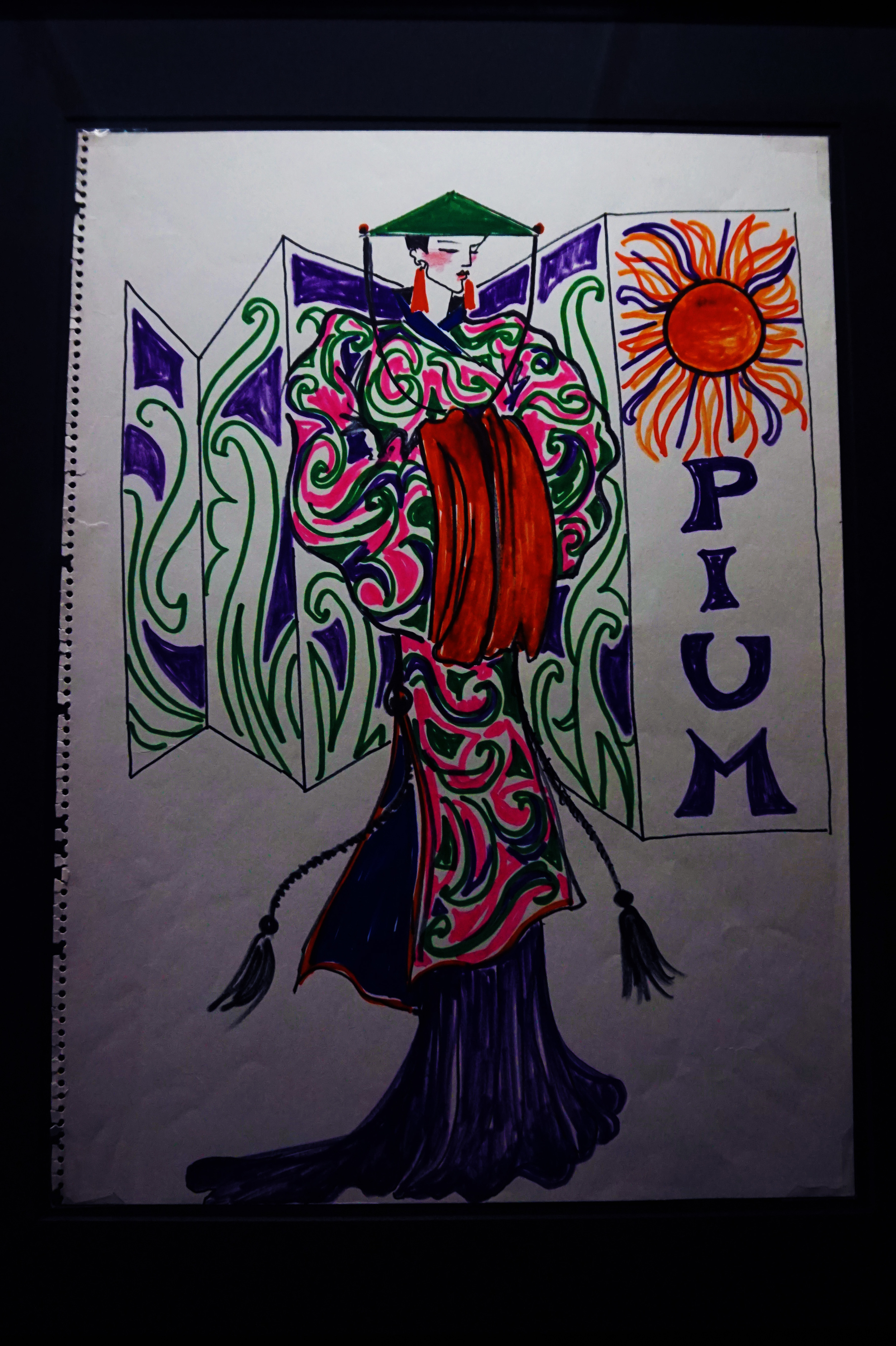 """An early sketch of YSL's """"Opium""""...it was kind of amusing to see a high-fashion sketch in magic marker"""