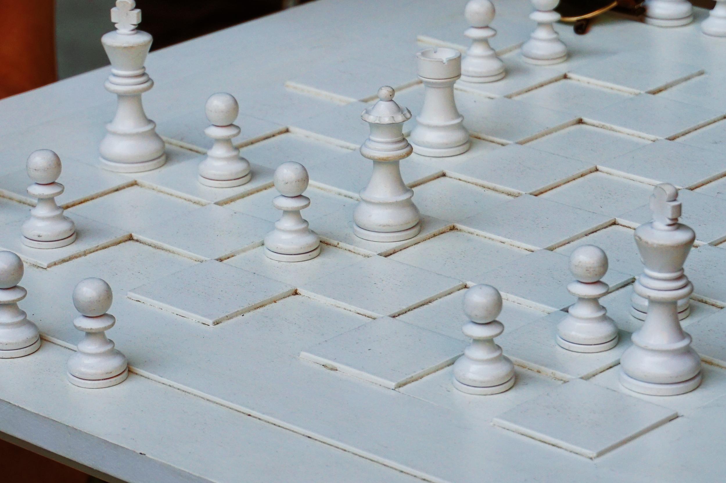 Yoko Ono's white chess set
