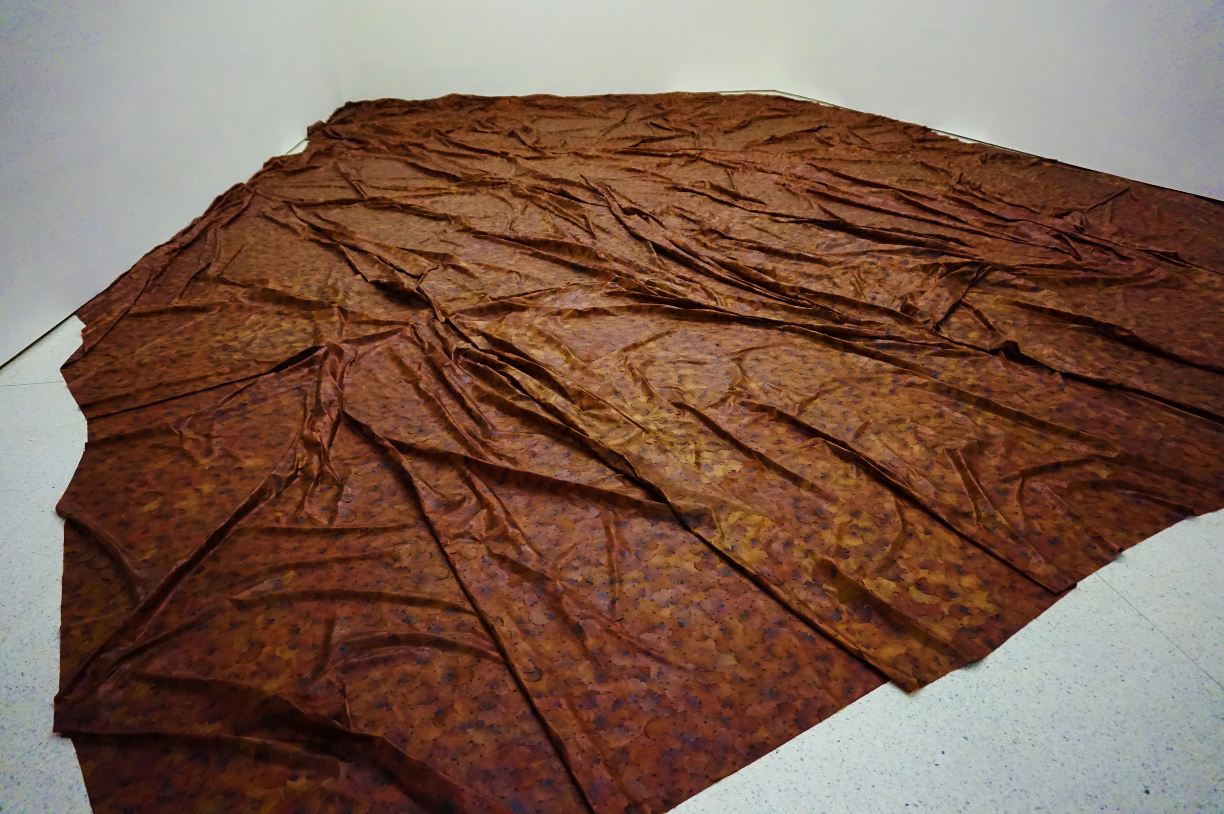 A Flor de Piel by Doris Salcedo c.2012, a blanket made of preserved and stitched-together rose petals that covered the floor of the room, as a tribute to a Colombian nurse that was tortured to death