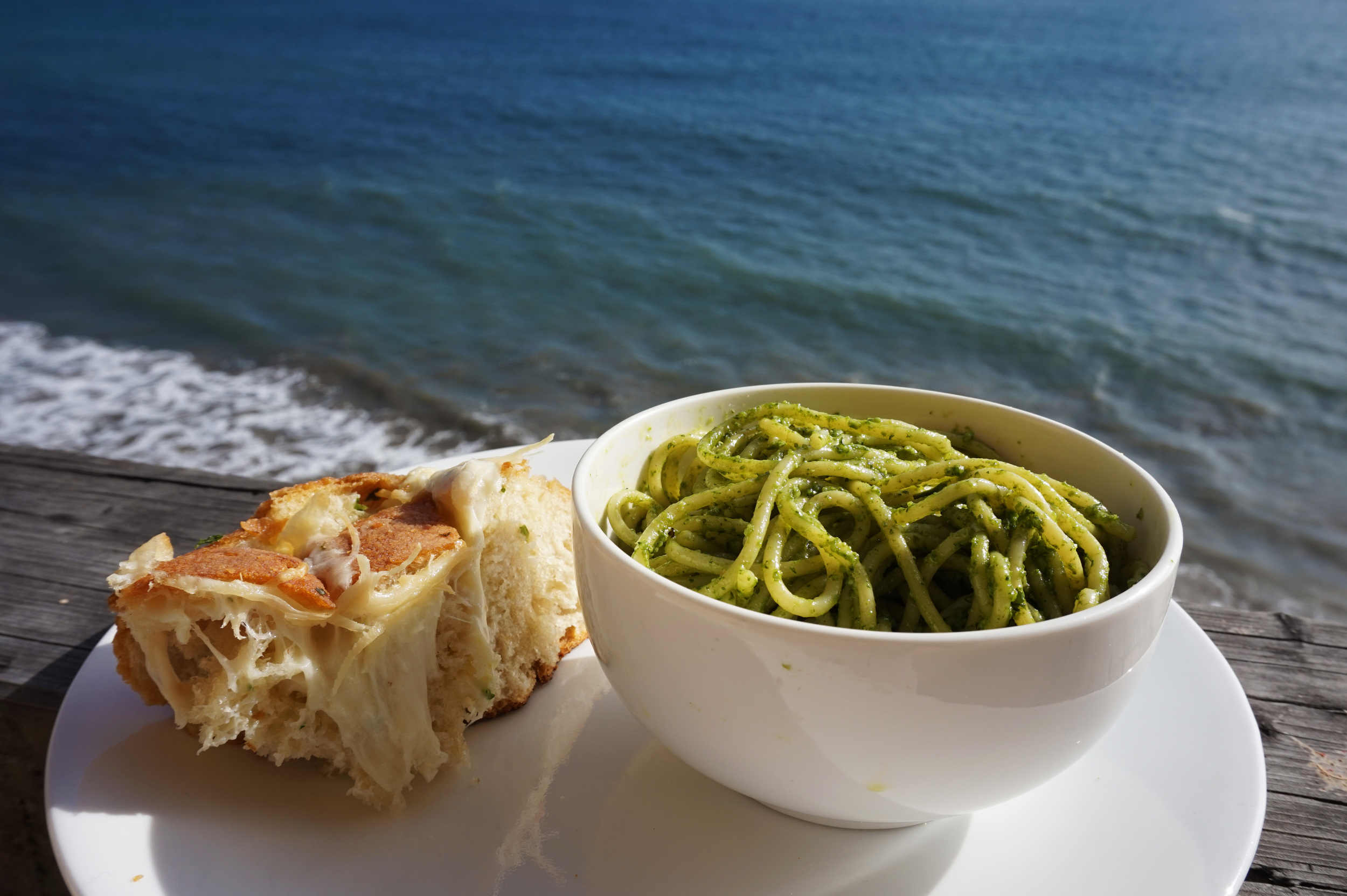 When you do a photo shoot with your pasta and garlic bread oceanside because you can