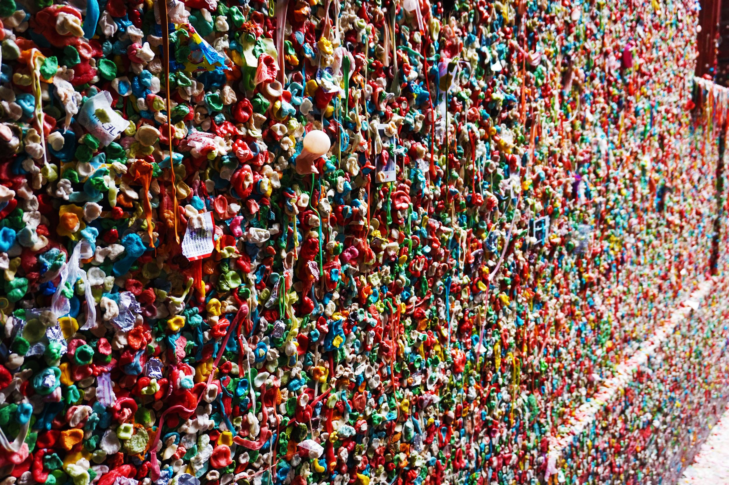The Gum Wall AKA a germaphobe's worst nightmare