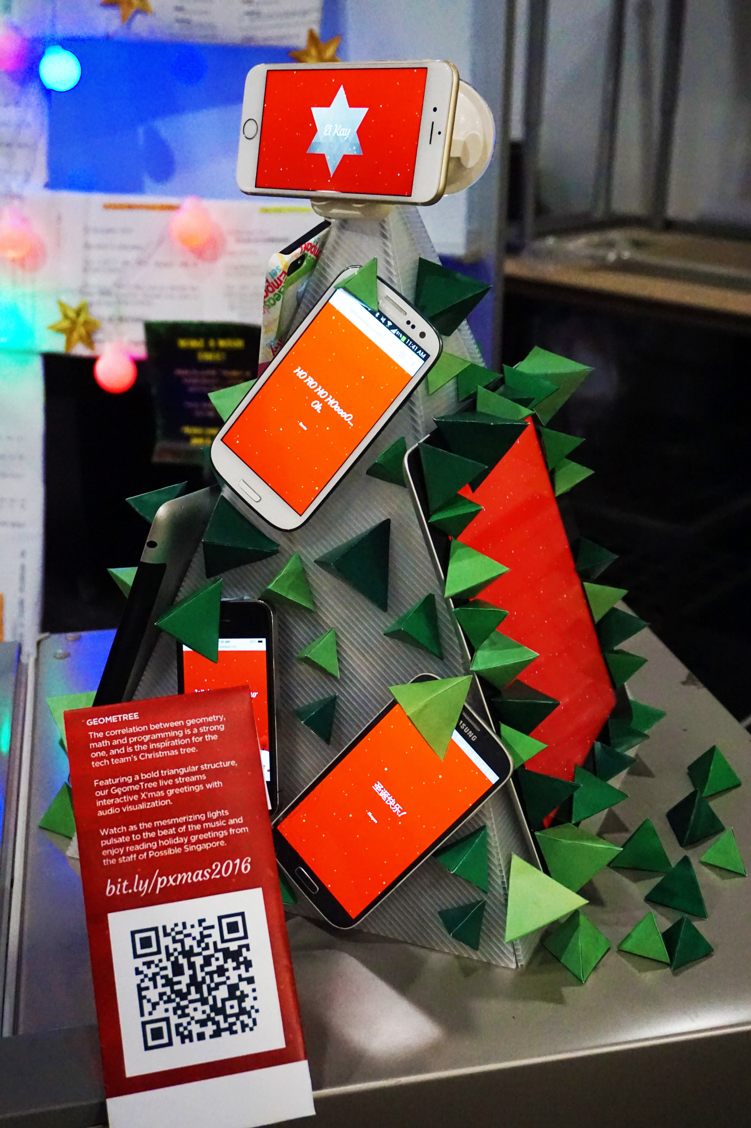 """Tech's """"Geometree,"""" which was fully interactive and displayed a feed of messages that you could submit via Google form or using the hashtag #pxmas16"""