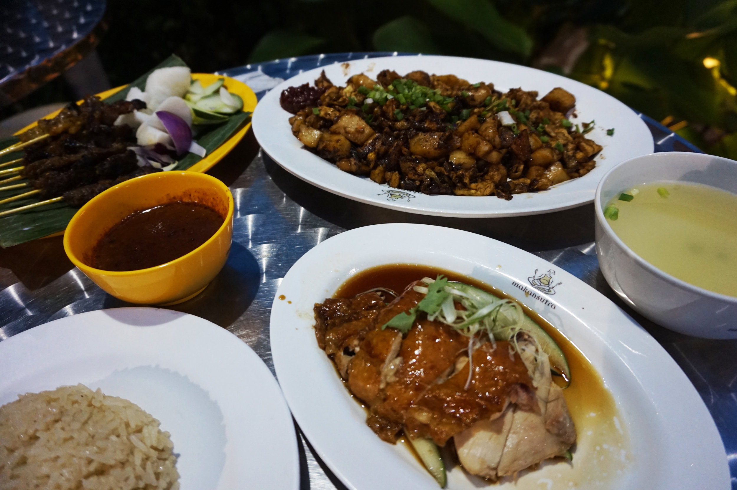 Chicken rice and carrot cake from Makansutra Glutton Bay